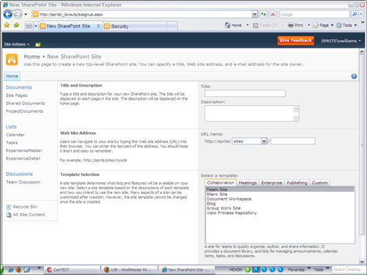 Create A New Site In SharePoint 2010 Dummies