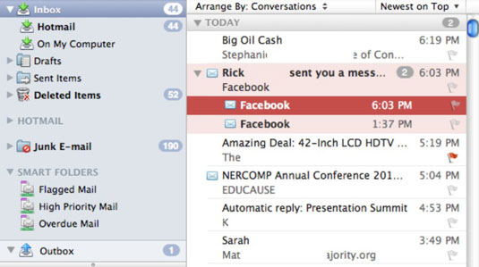 Default mail view in Outlook for Mac.