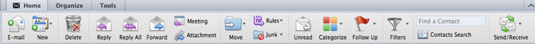 The toolbox bar at the top of the Outlook for Mac window.