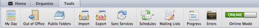 The command bar at the top of Outlook.