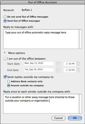 Out of Office Assistant dialog box.