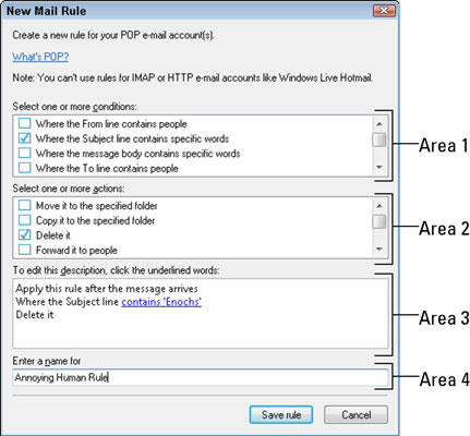 Creating a new mail rule to delete junk emails.