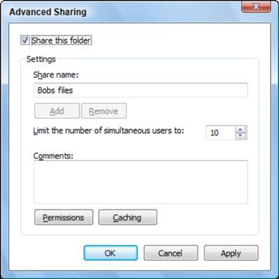 The Windows Vista advanced sharing dialog box.