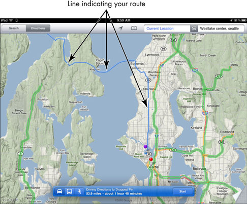 How To Get Directions Using iPad's Google Maps - dummies Map Directions From One Place To Another on maps of caves in colorado, maps and stuff, google map from to,