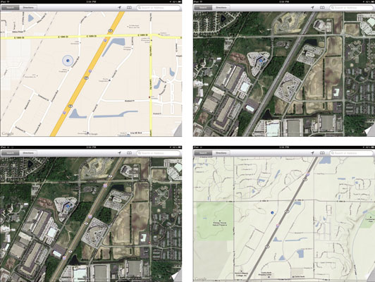 How To Change Views In IPads Google Maps Dummies - Google maps topographic view