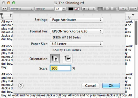 How to use Page Setup when Printing in Mac OS X Lion - dummies
