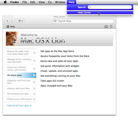 Navigating the Help Menu in Mac OS X Lion - dummies