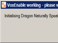 Pop-up screen that says Dragon NaturallySpeaking is being initialized.