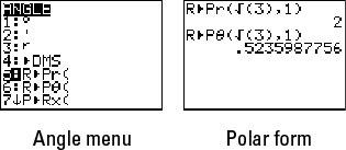 Converting from rectangular to polar coordinates.