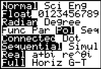 The available modes on a TI-83 calculator