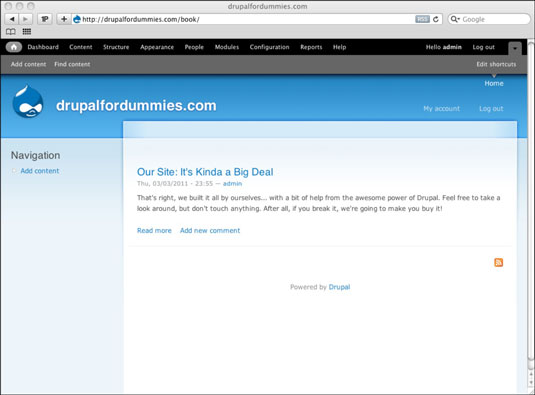 Drupal site using the Garland theme.