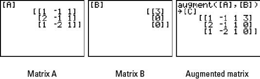 Three stored matrices on the TI-83 plus.