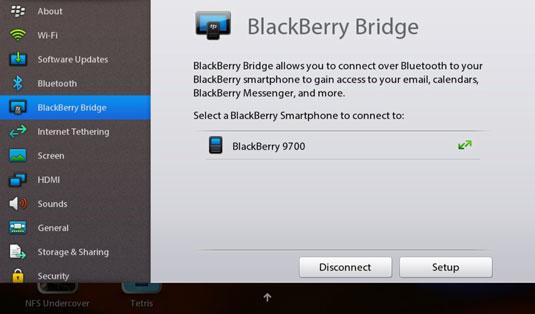 Communication with the BlackBerry PlayBook - dummies