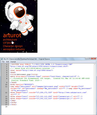 The finished image map, as viewed in a web browser (top) and the HTML code created for the image ma