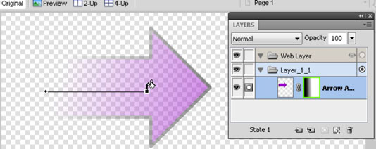 The arrow shows through more where the gradient is lighter.