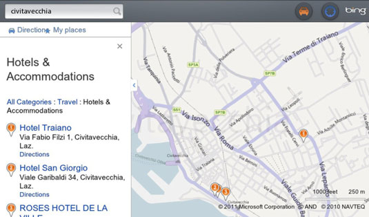 get driving directions from bing maps