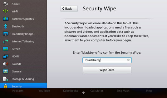 Do a Factory Reset of Your BlackBerry PlayBook - dummies