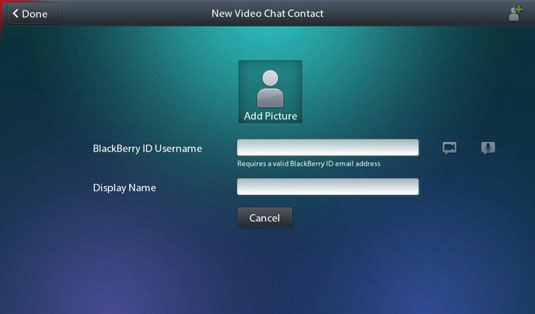 Video Chat can connect a pair of BlackBerry PlayBook tablets over the Internet via strong and stabl