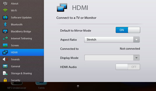 The HDMI control panel lets you adjust the signal sent from the tablet.