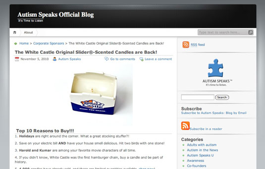 White Castle's hamburger and onion-scented candle raised $50,000 for Autism Speaks