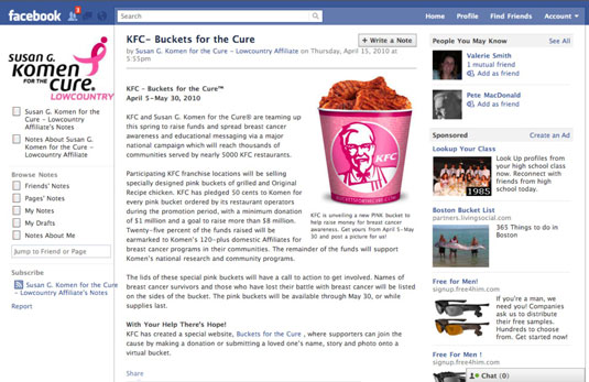Kentucky Fried Chicken raised over $4M for Komen for the Cure with its Buckets for the Cure.