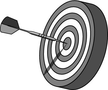 A dart hitting the target.