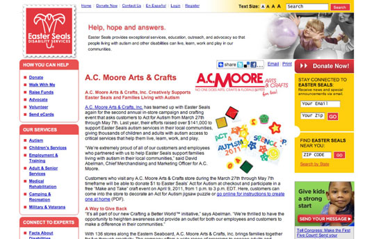 Press release about A. C. Moore's campaign for Autism Awareness.