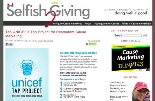 The Selfish Giving blog.