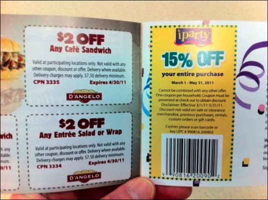 Discount coupons for stores and restaurants.