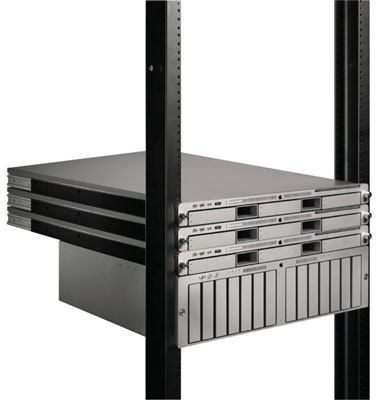 Three Xserves mounted in a rack with a storage array. [Credit: Photo courtesy of Apple.]