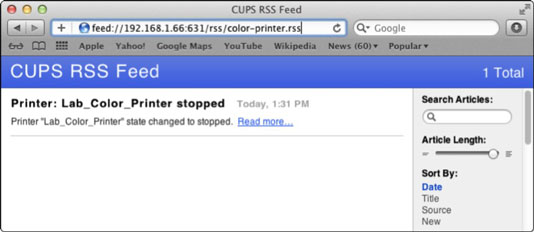 How to Set Up RSS to Monitor Print Servers Using Lion Server