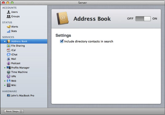 how to set up address book server on lion dummies