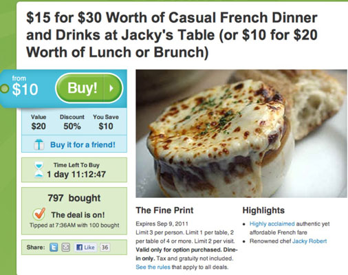 A coupon available on Groupon.