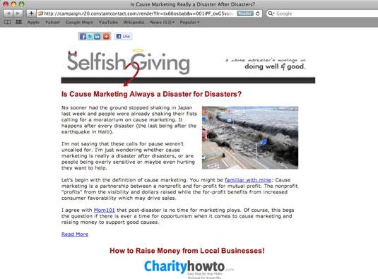 Newsletter for Selfish Giving.