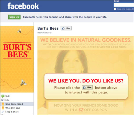 Burt's Bees Facebook page