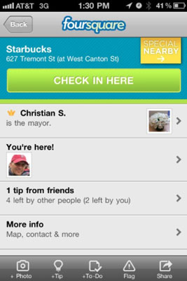 Foursquare features include check-in, mayorships, specials, who's there or nearby, and social