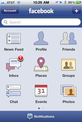 Facebook mobile menu.