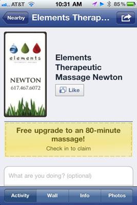 A Massage place on Facebook Deals.