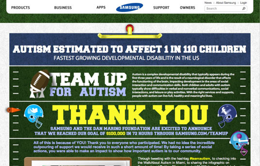 Samsung and the Dan Marino Foundation's #teamautism helped raise $100,000 in three days.