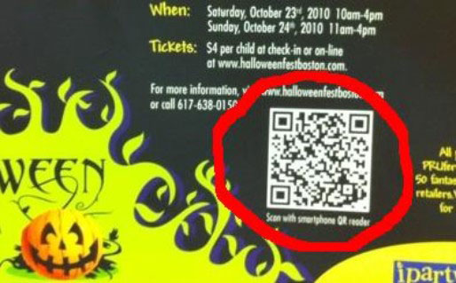 The QR code on this pinup was the first of its kind. It directed users to an event website.