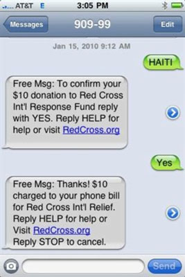 A Red Cross text-to-give charity campaign.