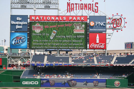 The score screen at the Nationals' baseball stadium.