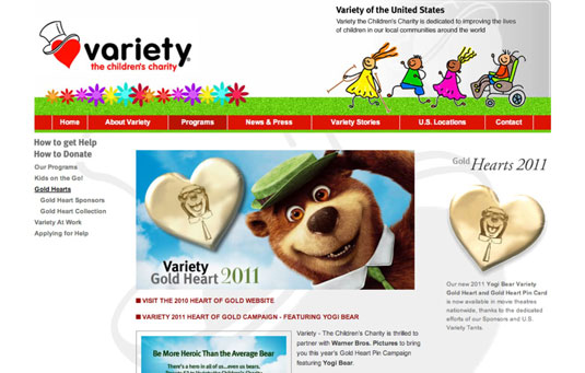 Variety's 2011 Gold Heart pin featuring Yogi Bear.
