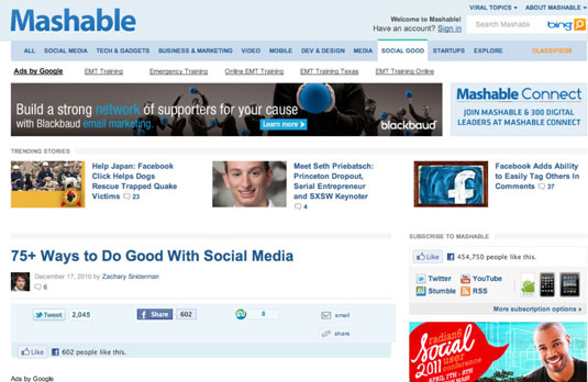 Follow Mashable on the web and @mashable on Twitter.