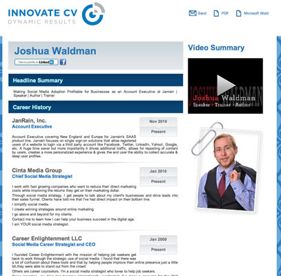A sample résumé created in Innovate CV.