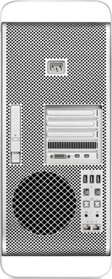 Mac Pro from the back, showing slots and cable connections. [Credit: Photo courtesy of Apple, Inc.]