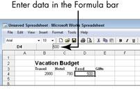 A Microsoft Works spreadsheet with explanations for some features.