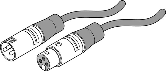An XLR connector: One end is male (left) and the other is female (right).