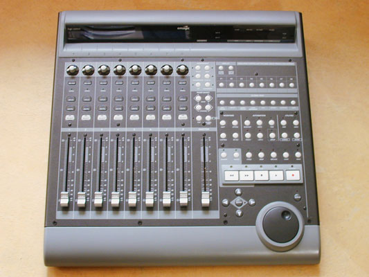 A computer control surface acts like a digital mixer for a computer-based system.