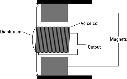 Dynamic mics pick up a signal using a magnetic field and a voice coil.